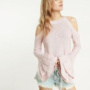 Express Marled Bell Sleeve Cold Shoulder Sweater L